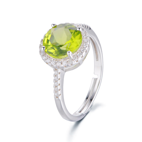Simple Round Green Crystal with Zircon Surrounded 925 Sterling Silver Ring