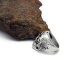 Personalized Skeleton Head with Spade and Pentagram Pattern Titanium Steel Silver Men's Ring