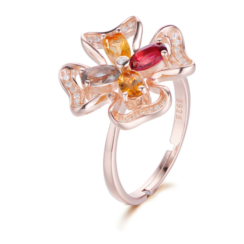 Clover Pattern with Multi-colour Gems Inlayed 925 Sterling Silver Ring