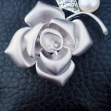 Rose Flower Design Natural Pearl Rhinestone Brooch