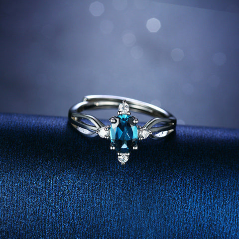 Elegant Flower-shaped with Blue Gem and Zircons 925 Sterling Silver Ring