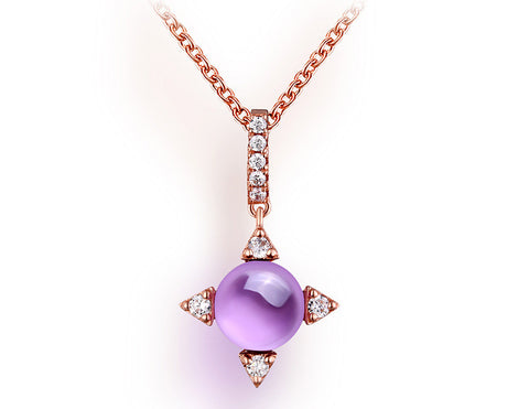 Cute Rose Golden Sunset Amethyst Necklace