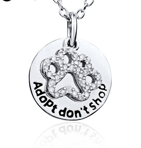 "925 Sterling Silver ""adopt, don't shop"" Stamped Pendant Necklace"