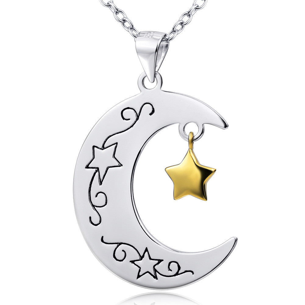 925 Sterling Silver Moon and Star Stamped Pendant Necklace