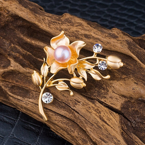 Adorable Flower Blossom Pearl Rhinestone Brooch