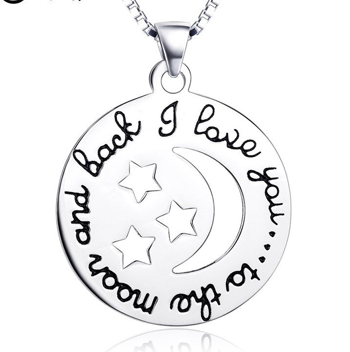 "925 Sterling Silver ""i love to the moon and back"" Stamped Pendant Necklace"