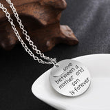 Letter Engraved Mother and Son Pendant Necklace