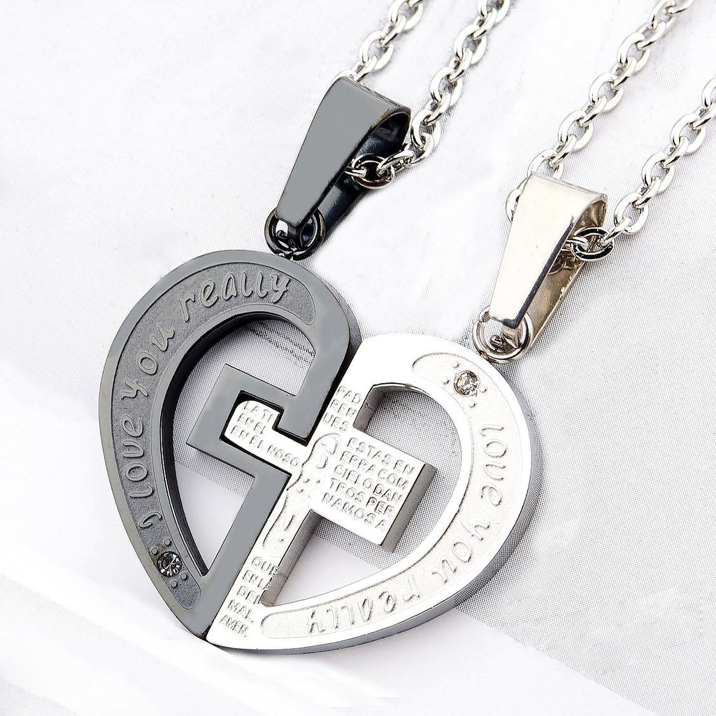Titanium Steel Heart Cross Splice Couple Necklace