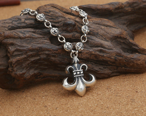 Unisex Silver Anchor Necklace