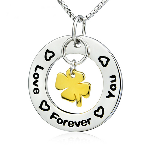 "925 Sterling Silver ""love forever you"" Stamped Pendant Necklace"