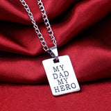 "Men Family Jewelry Silver Crafted Engraved ""My Dad My Hero"" Pendant Necklace"