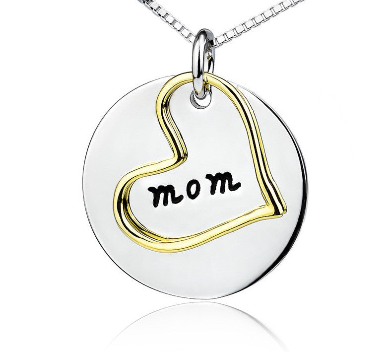 925 Sterling Silver Mom Letter  Engraved Heart Pendant Necklace