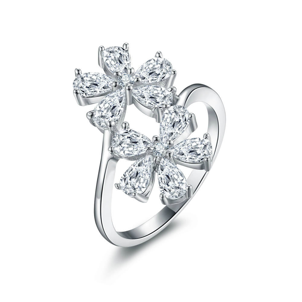 Graceful Geminate Flower Pattern 925 Sterling Silver Statement Ring