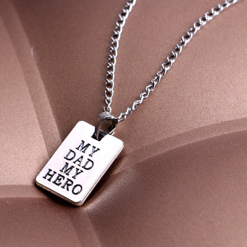 Men family jewelry silver crafted engraved my dad my hero pendant necklace evermarker men family jewelry silver crafted engraved my dad my hero pendant necklace aloadofball Images