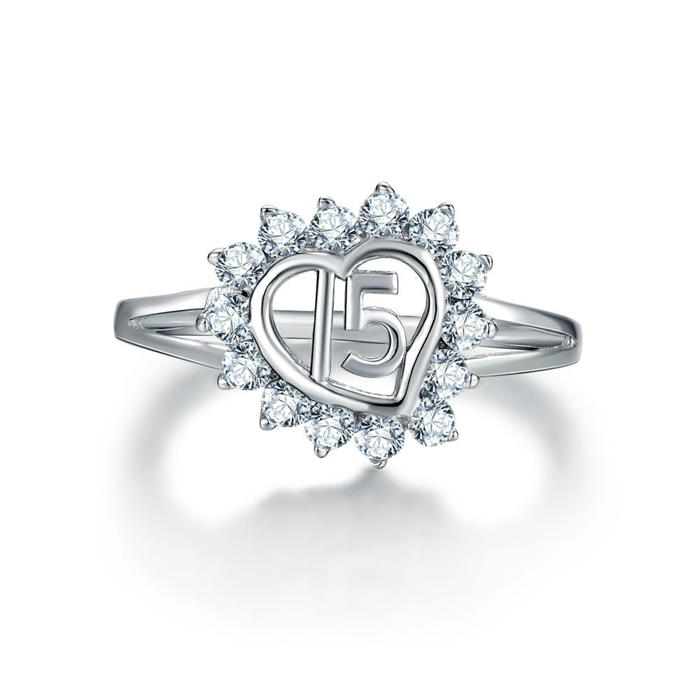 Modern Hollowed Heart-shaped With Zircons Surrounded 925 Sterling Silver Statement Ring
