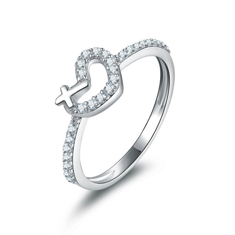 Fashion Heart-shape and Crisscross Pattern With Zircons Decorated 925 Sterling Silver Statement Ring