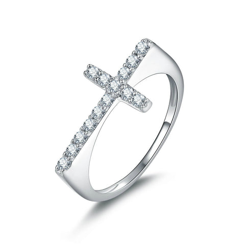 Special Zircons Crisscross Pattern 925 Sterling Silver Statement Ring