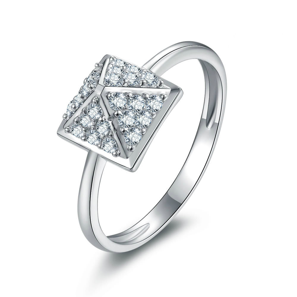 Unique Pyramid Pattern With Zircons Embraced 925 Sterling Silver Statement Ring