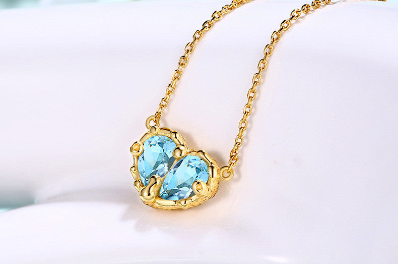 Sweet Heart Blue Topaz 925 Sterling Silver Pendant Necklace