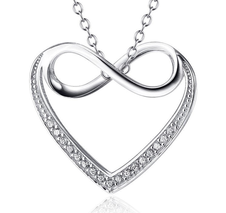 925 Sterling Silver Infinity and Heart Diamond-Bordered Pendant Necklace