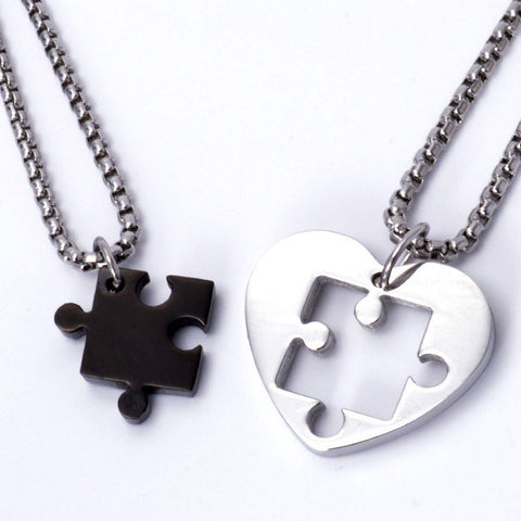 Jigsaw Puzzle Heart Pendant Couple Necklaces
