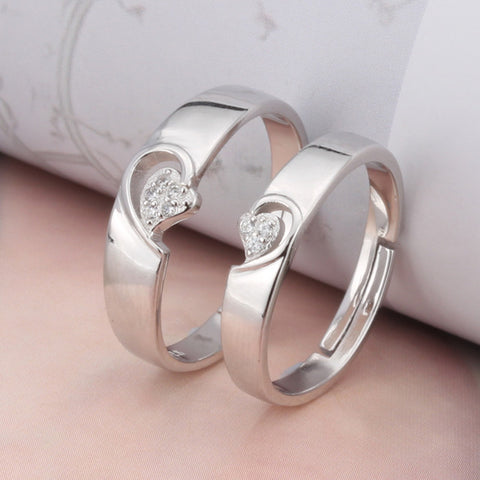 Matching heart 925 Sterling Silver Couple Rings(Open Size)