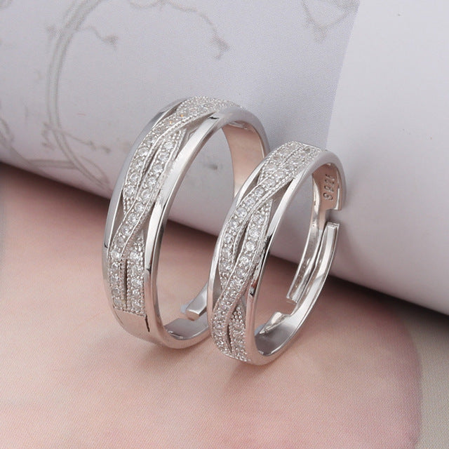"""Always Be With You"" 925 Sterling Silver Couple Rings(Open Size)"