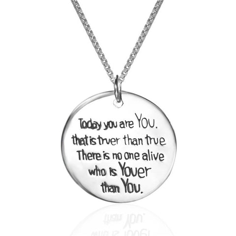 "Personalized 925 Sterling Silver ""today you are you"" Stamped Pendant Necklace"