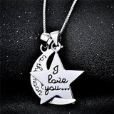 "925 Sterling Silver ""i love you"" Star and Moon Pendant Necklace"