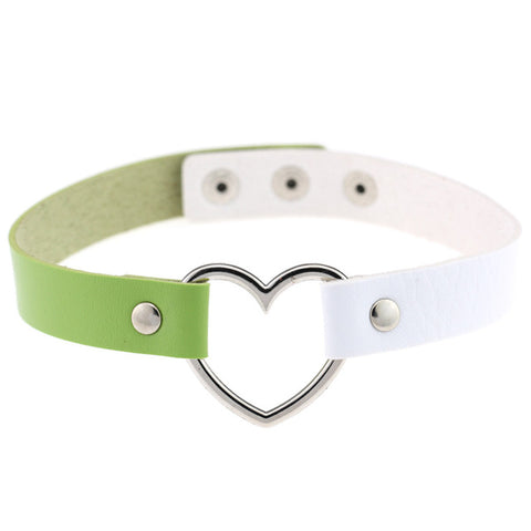 Punk Style Heart Shaped PU Leather Choker(Green+White)