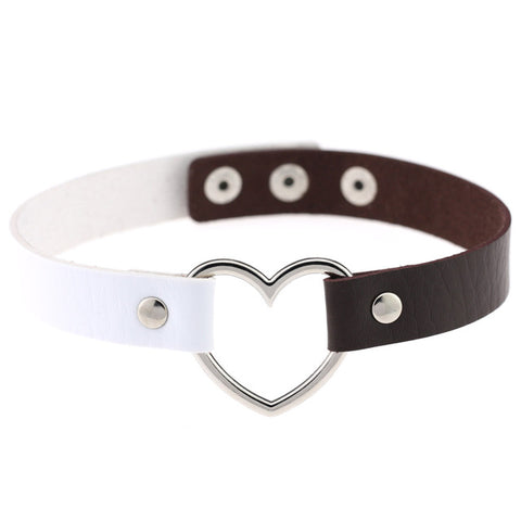 Punk Style Heart Shaped PU Leather Choker(White+Brown)