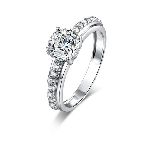 Climple Single Zircons String With One Main Zircon Decorated 925 Sterling Silver Statement Ring