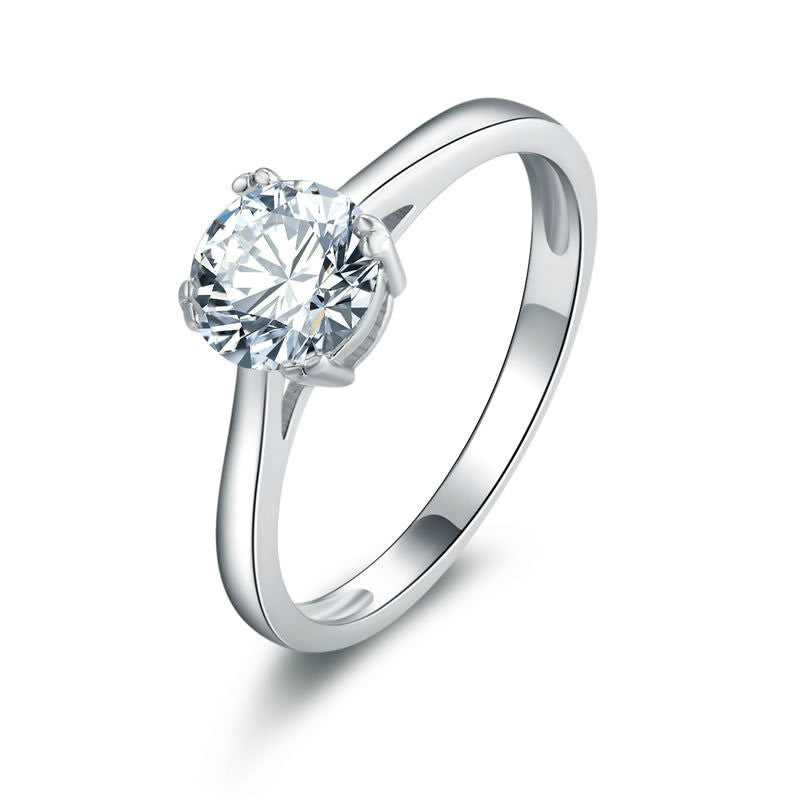 Simple Square Framed with Sole Zircon Embraced 925 Sterling Silver Engagement Ring for Women