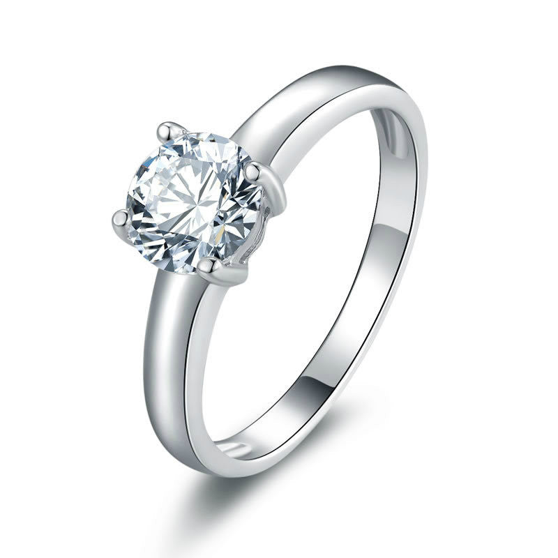 Simple Square Framed with Sole Zircon Embraced Wide Brim 925 Sterling Silver Engagement Ring for Women