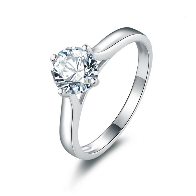 Simple Rhomboic Framed with Sole Zircon Embraced 925 Sterling Silver Engagement Ring for Women