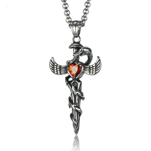 Cross Heart Wing Titanium Steel Men's Necklace