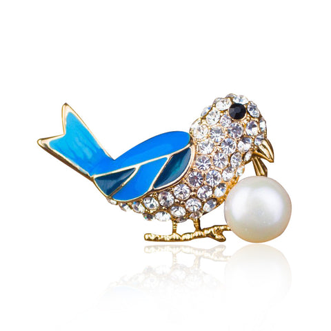 Fashionable Bird Design Pearl Rhinestone Enamel Brooch