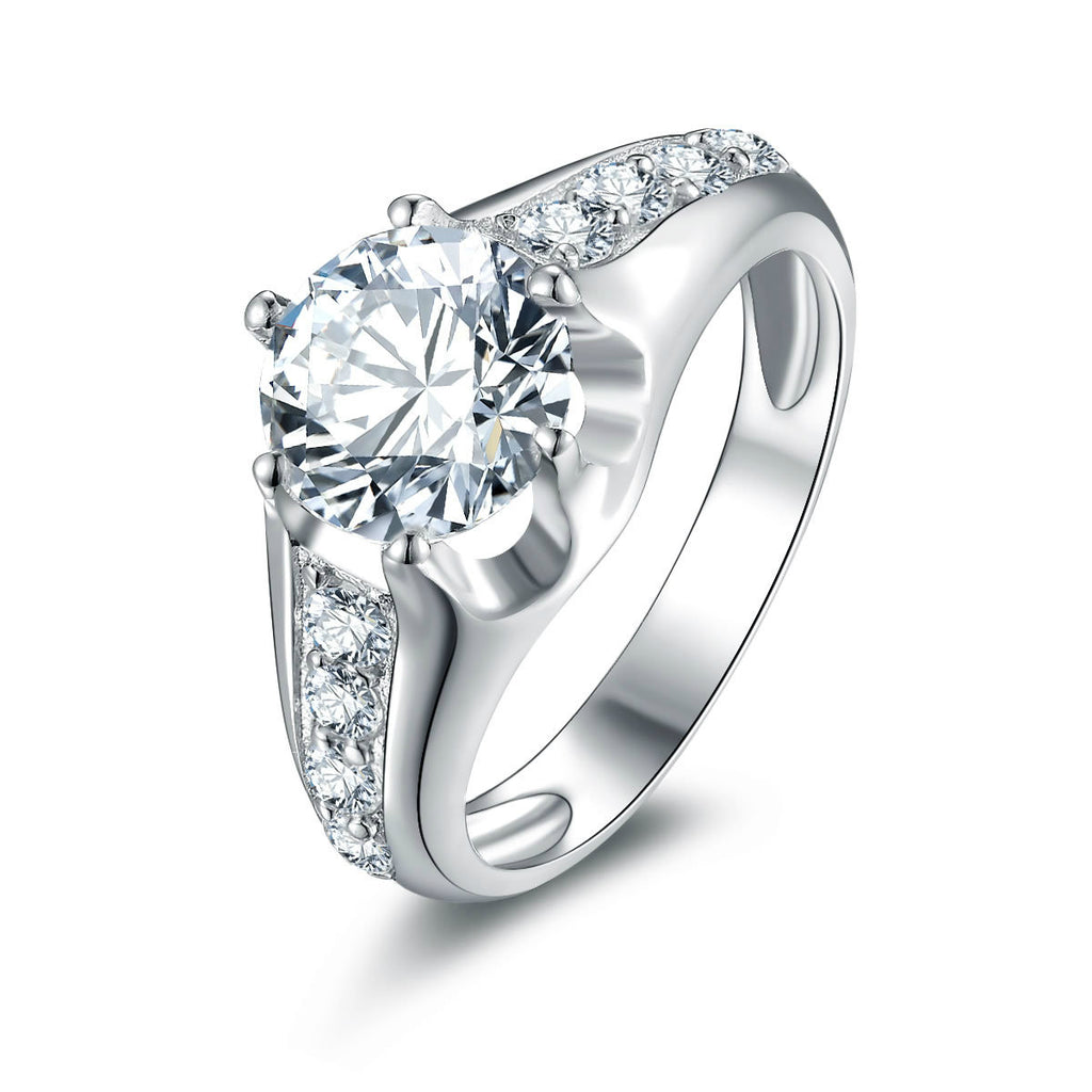 Fashion Wide Brim Hollow Engagement Ring With Zircon Inlayed 925 Sterling Silver for Women