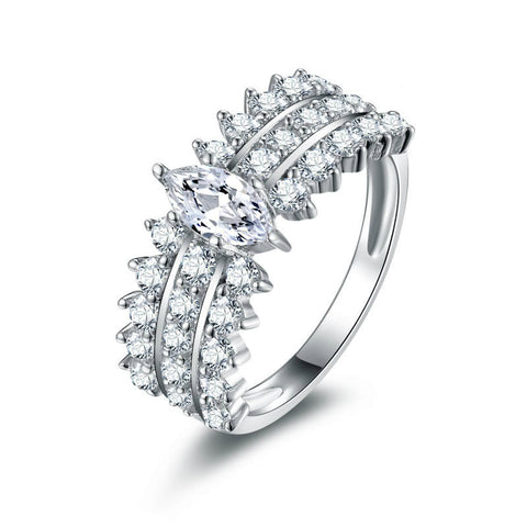 Popular Enagement 925 Sterling Silver Statement Ring for Women