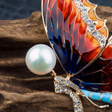 Women Fashion Colorful Butterfly Brooch With Gems And Pearl