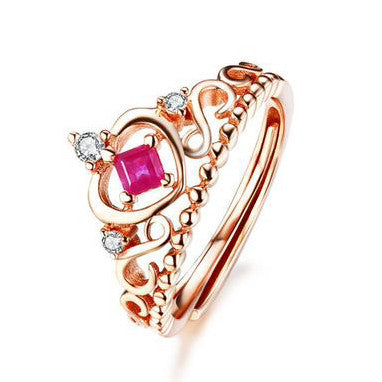Elegant Crown Pattern with Ruby Inlayed 925 Sterling Silver Ring