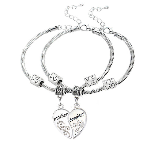 Mother and Daughter Heart Shaped Matching Bracelet Set