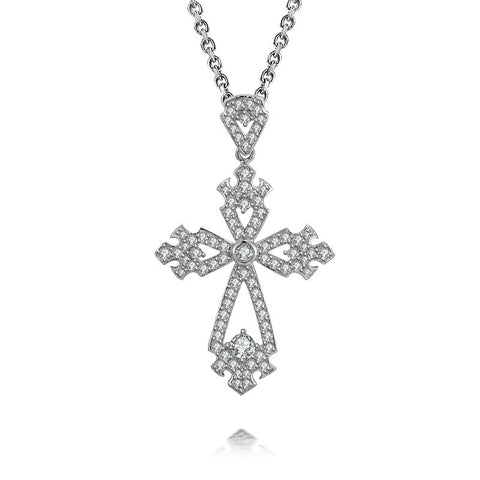 Climple Cross-shaped Design 925 Sterling Silver Pendant Necklace