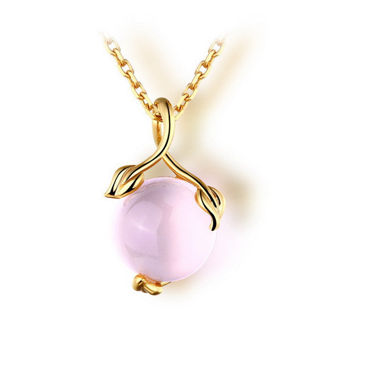 Simple Gold Plated Ball-shaped Crystal Pendant Necklace