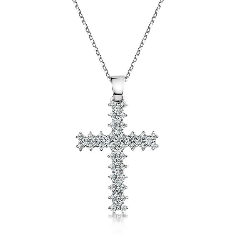 Elegant Cross-shaped Design 925 Sterling Silver Pendant Necklace