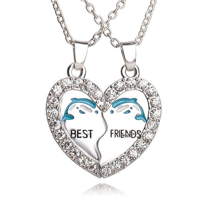 Best Friend Friendship Heart Interlocking Pendant Necklaces