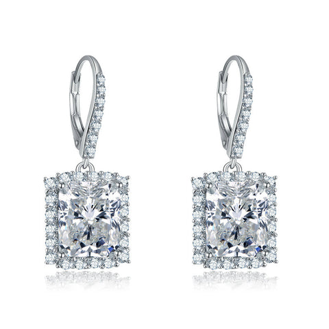 Women Luxurious Geometry Crystal Design 925 Sterling Silver Drop Ear Ring
