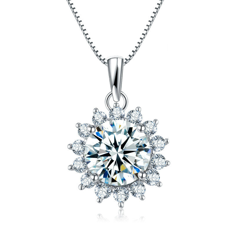 Unique Flower-shaped Design 925 Sterling Silver Pendant Necklace
