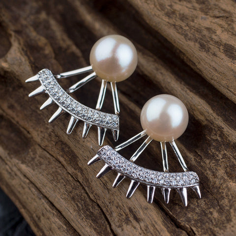 Natural Pearl Eyebrow Design 925 Sterling Silver Zircon Earrings