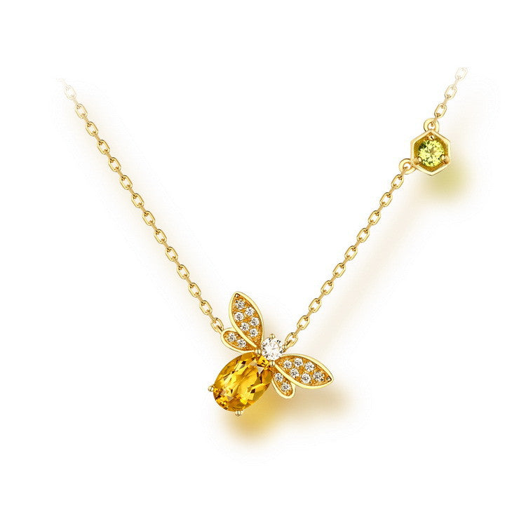 Bee Shape Crystal Yellow 925 Sterling Silver Pendant Necklace
